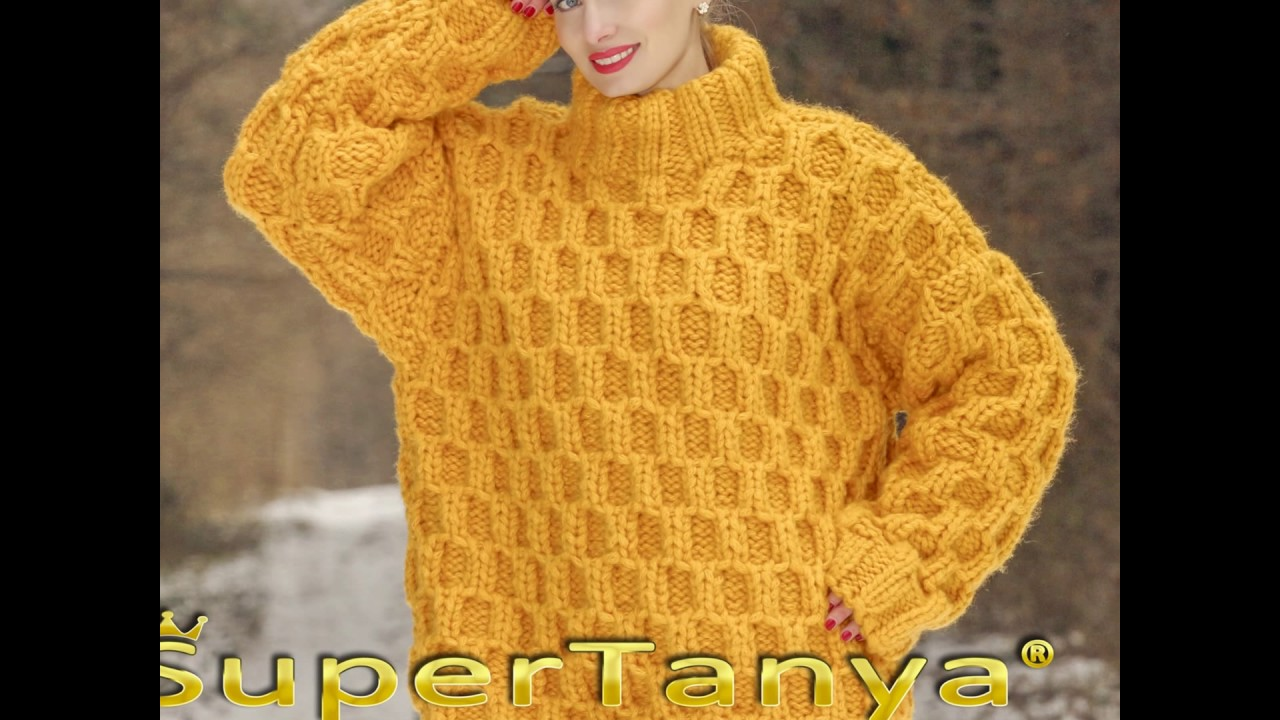 5ef29a7995166 Thick yellow wool sweater hand knitted with honey comb pattern - YouTube