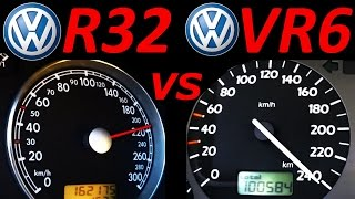 VW Golf 3 VR6 vs VW Golf 4 R32 - 0-200 Km/h Acceleration Autobahn compare