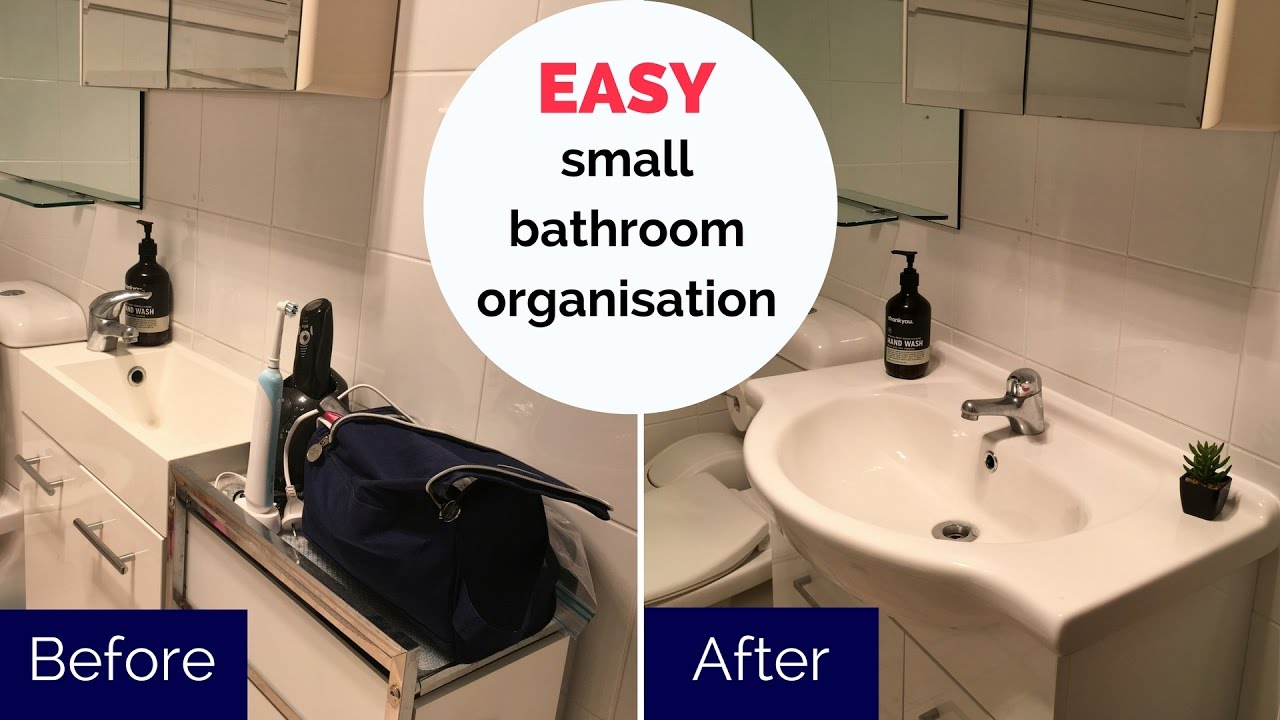 How To Organise A Small Bathroom Tiny Bathroom Organisation Youtube