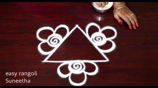 Latest Triangle rangoli & kolam designs by Suneetha || Easy Freehand rangoli muggulu