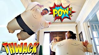 Bad Baby Fat Sumo Battle ATTACKS!  - Sumo Wrestling Shasha and Shiloh - Onyx Kids