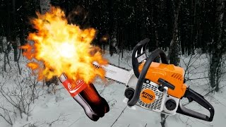 эксперимент. бензопила против кока кола. бензопила VS coca cola.  chainsaw VS coca cola.