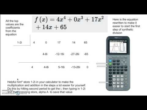 Synthetic Division With Complex Numbers Tutorial