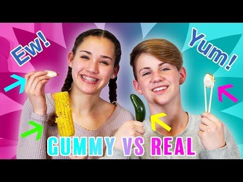 GUMMY FOOD vs. REAL FOOD CHALLENGE! (MattyBRaps vs Gracie Haschak)