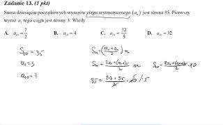 Matura sierpień 2014 zadanie 13 Suma dziesięciu początkowych wyrazów ciągu arytmetycznego (an) jest