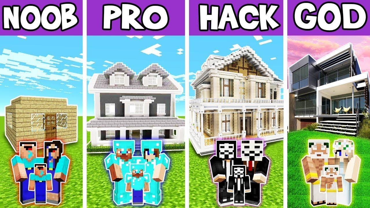 Minecraft: FAMILY FUTURE MANSION BUILD CHALLENGE - NOOB vs PRO vs HACKER vs GOD in Minecraft