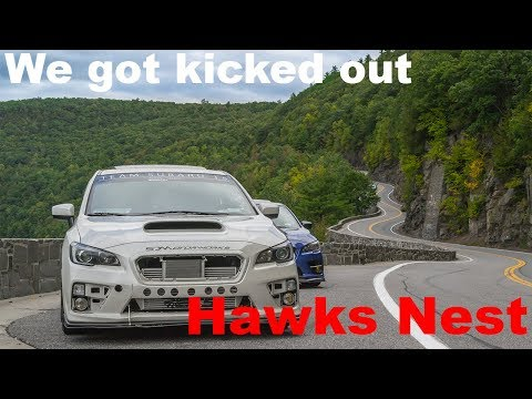 Subarus take a scenic drive at the Hawks Nest