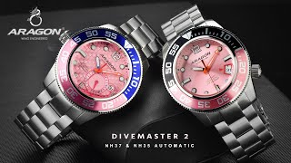 ARAGON® Divemaster 3 NH37 & NH35 Automatic with Pink Dial Limited Edition