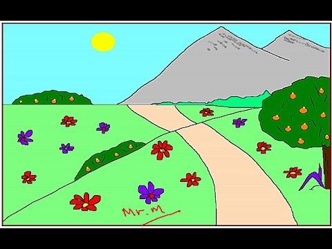رسم منظر طبيعي How To Drawing A Landscape Youtube