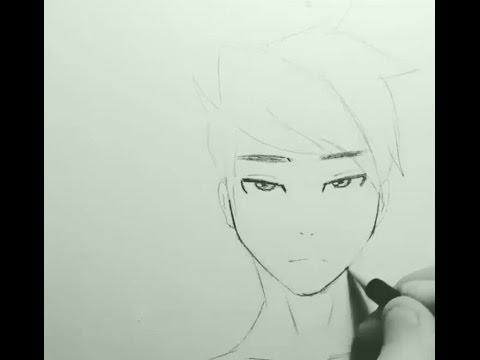 Как нарисовать лицо парня аниме