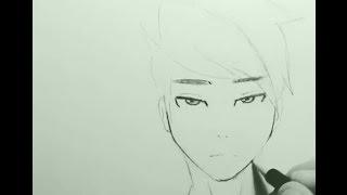 Рисуем аниме лицо ( парень )