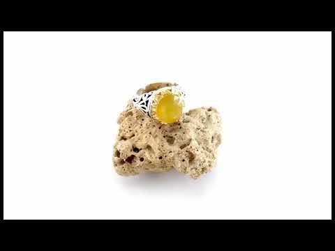 انگشتر یاقوت زرد درشت اشرافی مردانه - کد 25359