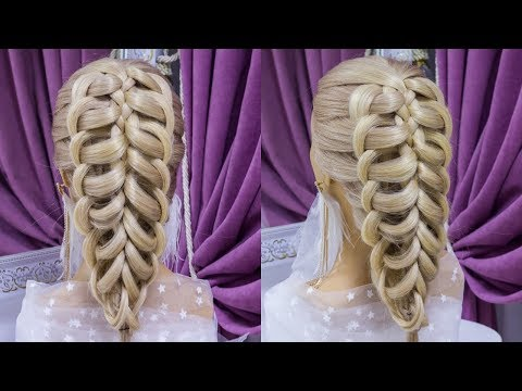 Коса.Красивая прическа на средние волосы