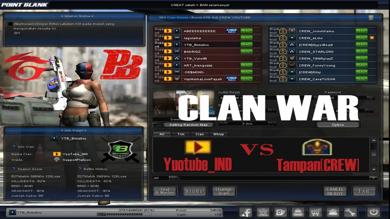 Clan War Youtube_ind Vs Tampancrew Point Blank Garena Indonesia Youtube