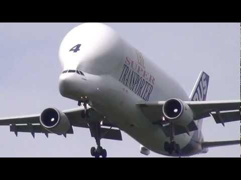 "Airbus A300B4-600ST The Super Transporter ""Beluga"" Crosswind Landing In Hamburg Finkenwerder Full HD"