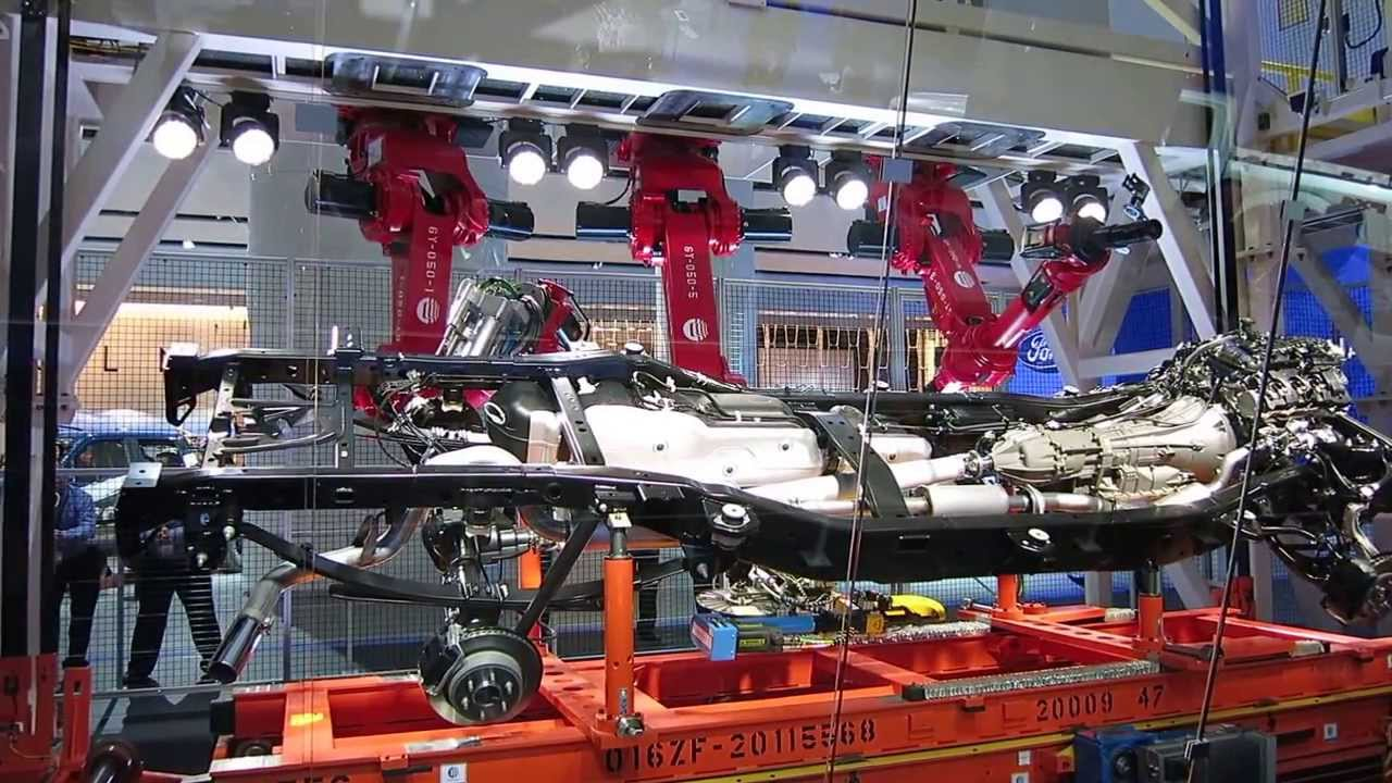 ford robots show off on 2015 f150 frame [ 1280 x 720 Pixel ]