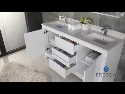 Fresca FVN8119 Allier 60'' Modern Double Sink Bathroom Vanity w/ Mirror by KitchenSource