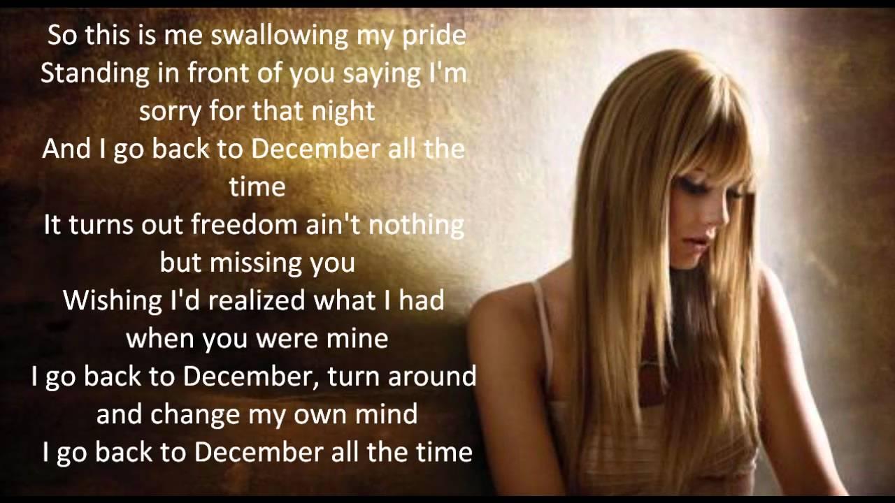 Back to December- Taylor Swift lyrics - YouTube