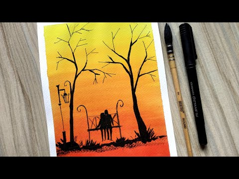 A Romantic Sunset Scenery Painting for Beginners using Watercolor and Black Ball Pen Step by Step
