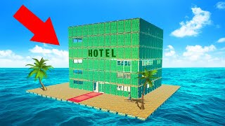 BUILD WORLDS BIGGEST RAFT HOTEL CHALLENGE! (Raft)