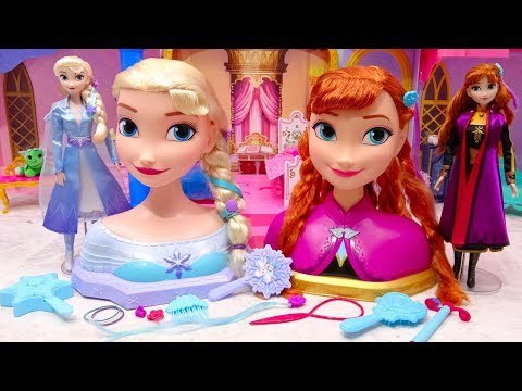 Disney's Frozen 2 Elsa and Anna Giant Hair Styling Head Morning Routine DIY Makeup Challenge