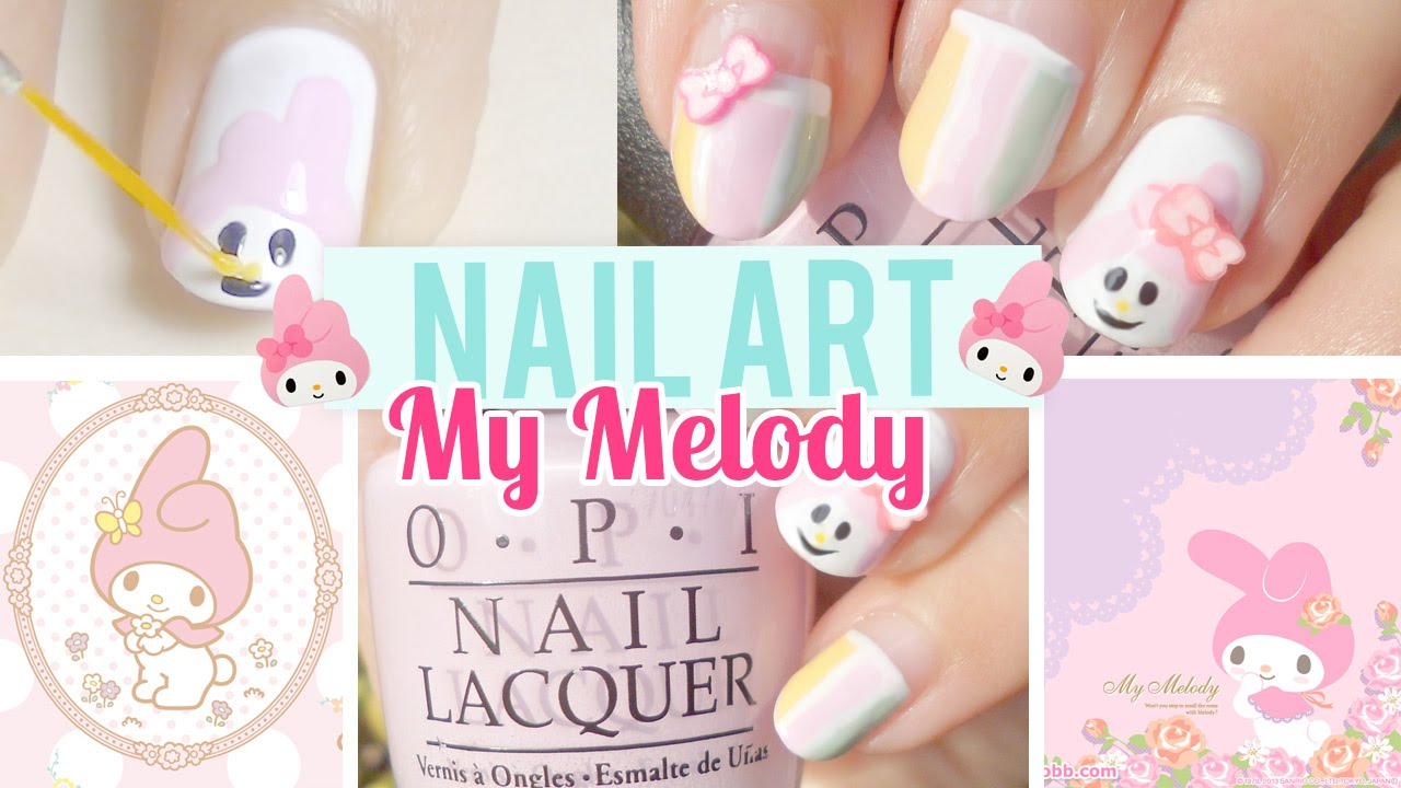 Sanrio My Melody Nail Art Design Tutorial Youtube