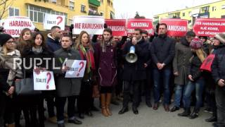 Albania: Protesters rally in support for detained ex-Kosovo PM Haradinaj
