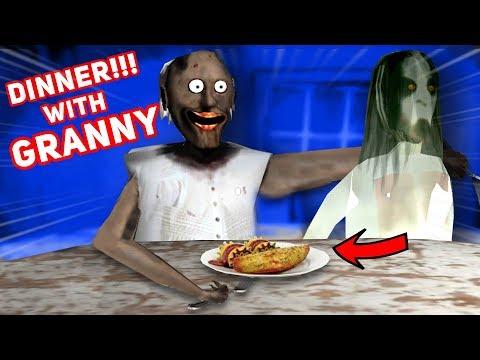 Having Dinner WITH GRANNY AND SLENDRINA!!!   Granny Horror Mobile Game