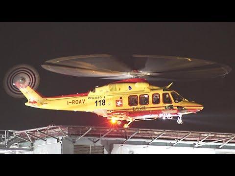 Elisoccorso 118 Pegaso2 AW139 Decollo notturno Ospedale Cisanello Pisa