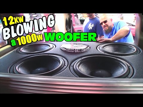 Blowing A Subwoofer w TRIPLE Rated Power  Derek Smoking Up 1000W DC  Sub on 12,000 Watts RMS