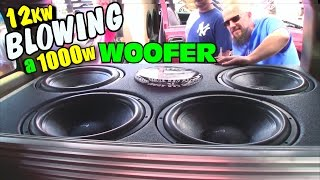 Blowing A Subwoofer w/ TRIPLE Rated Power | Derek Smoking Up 1000W DC Audio Sub on 12,000 Watts RMS