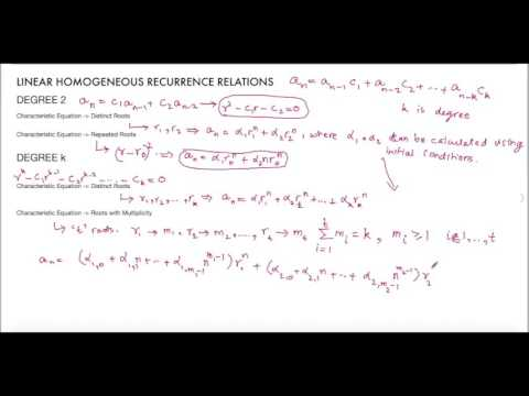 Linear Homogeneous Recurrence Relations - General Forms