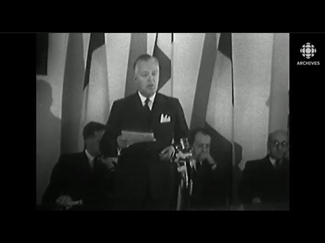 Visite et discours de Jean Lesage à la Maison du Québec à Paris en 1961