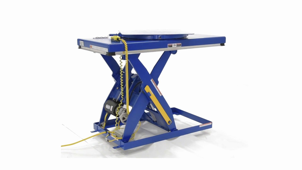 EHLT ROTATE Electric Hydraulic Scissor Lift Table Manual Built In Carousel  For Scissor Tables