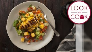 Indian Chicken & Mango Salad Recipe - Look and Cook step by step recipes  How to make