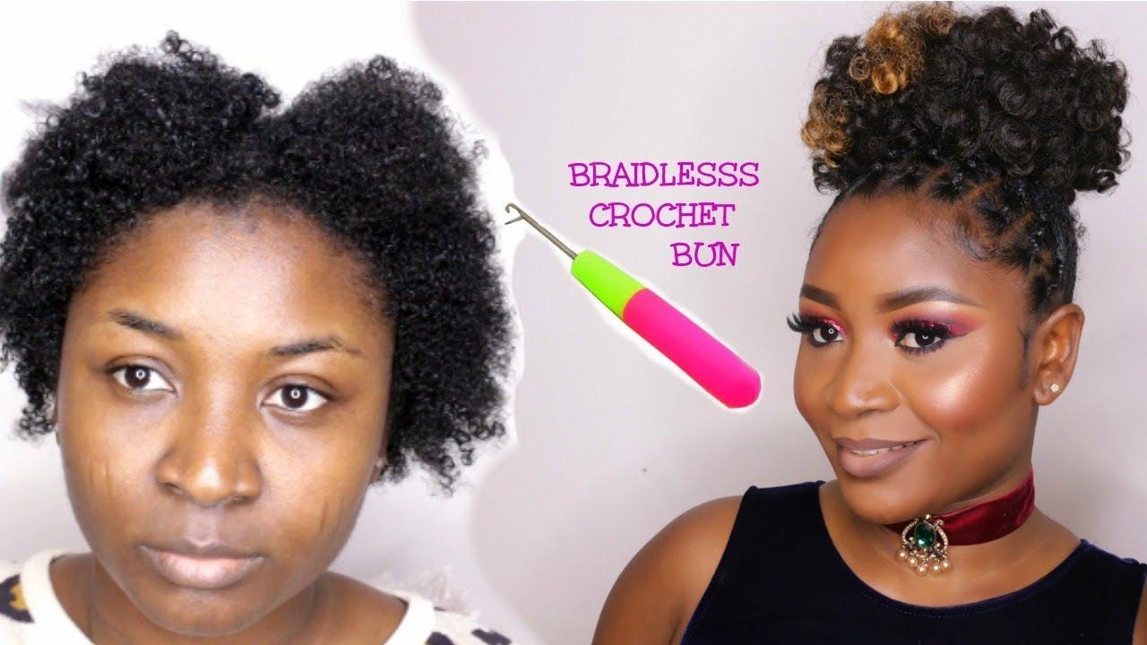Braidless Crochet High Puff Rubber Band Method
