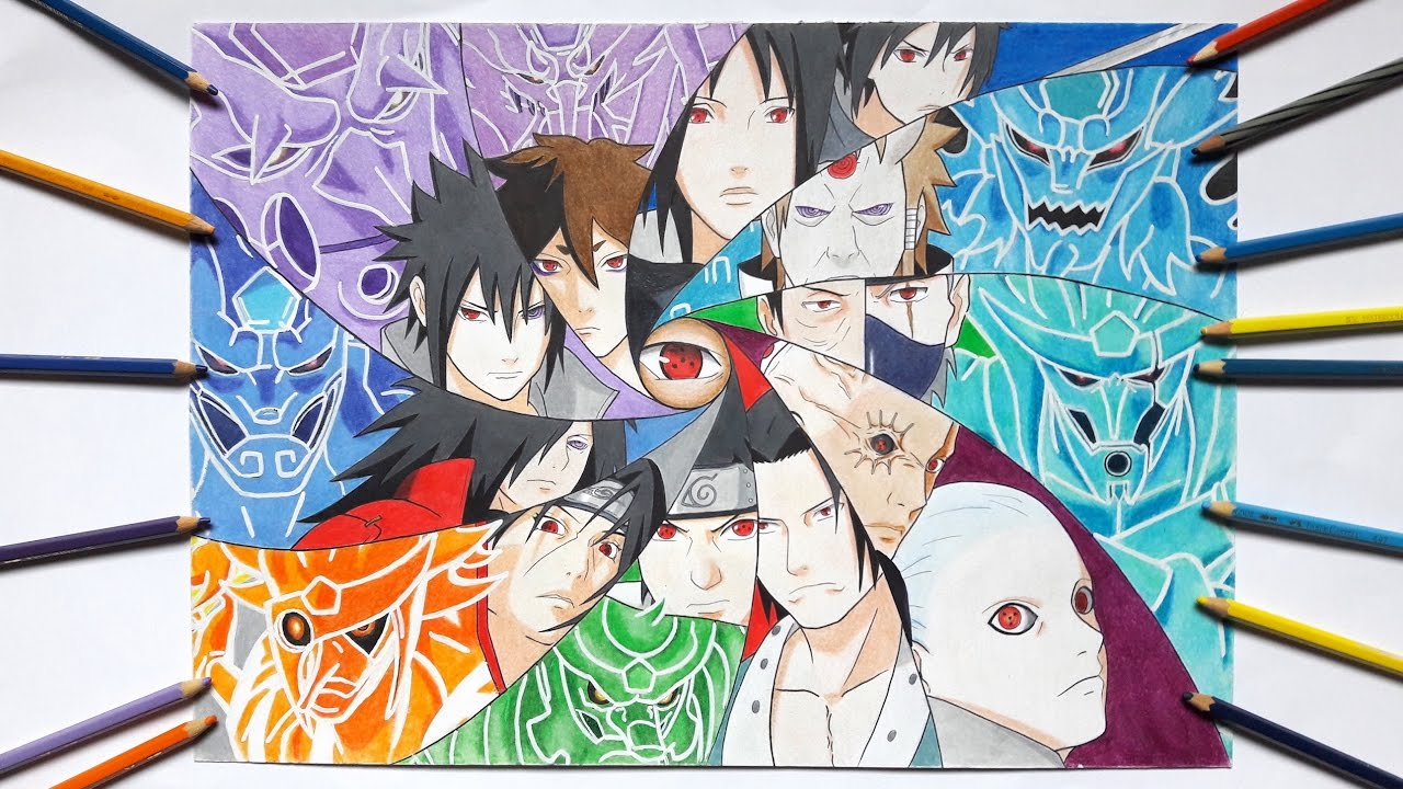 Speed Drawing Sharingan Users Their Susanoo Requested Youtube