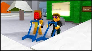 I walked out with a subscriber to clean snow on Roblox!