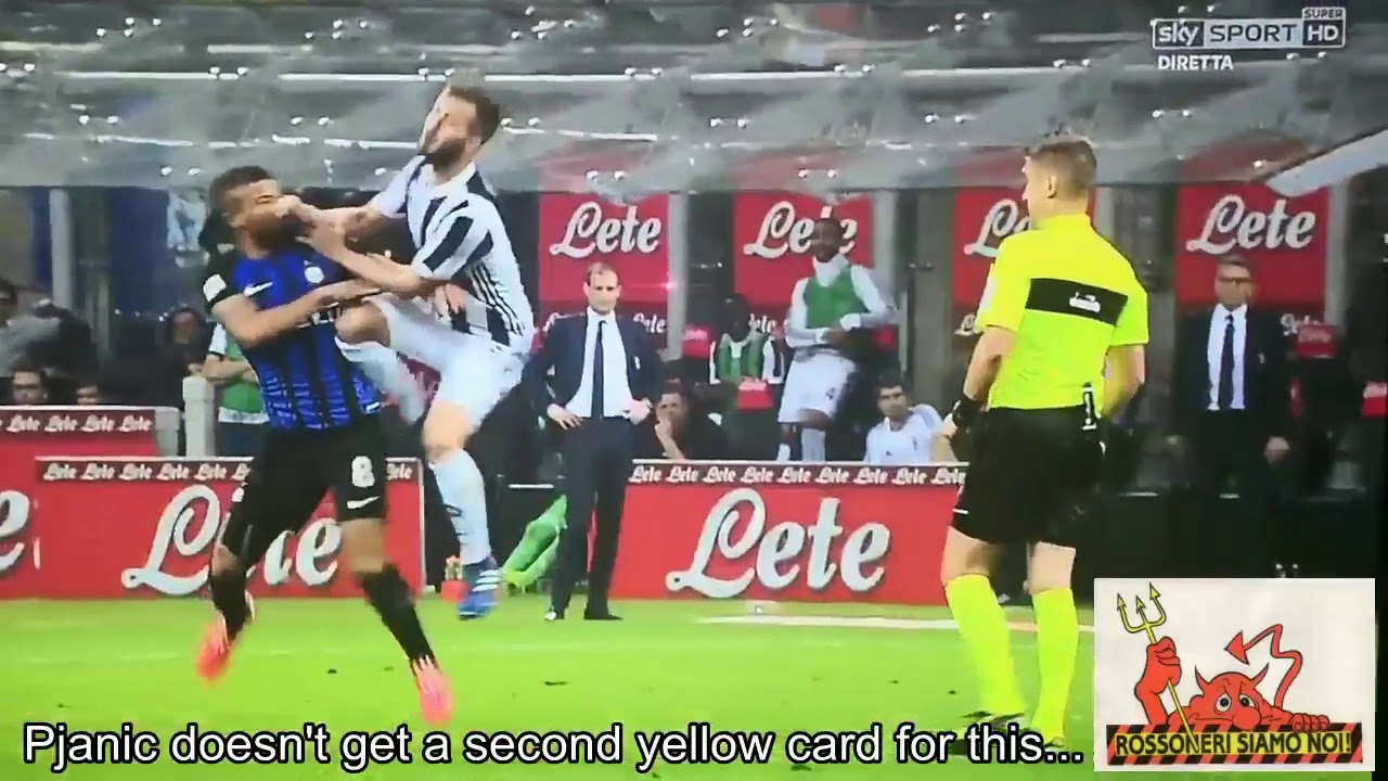Pjanic doesn't get a second yellow card for this... (Inter ...