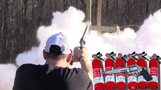 How many charged fire extenguishers will a 500 S&W Magnum go through?
