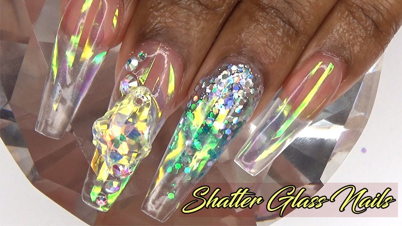 Acrylic Nails Crystal Clear Shattered Glass Nails