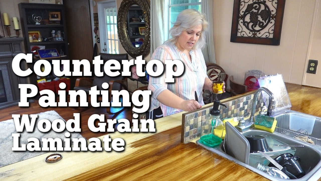 Painting A Countertop With Nothing To Lose Faux Wood Over Laminate Butcherblock Countertops Youtube