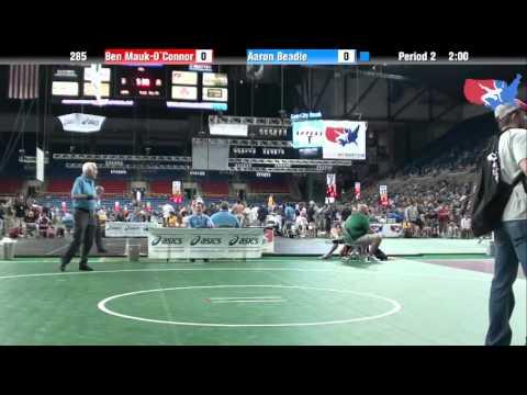 Fargo 2012 285 Round 2: Ben Mauk-O`Connor (Illinois) vs. Aaron Beadle (Oregon)