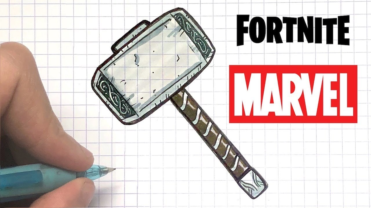 Como Dibujar Martillo De Thor Fortnite Marvel Youtube