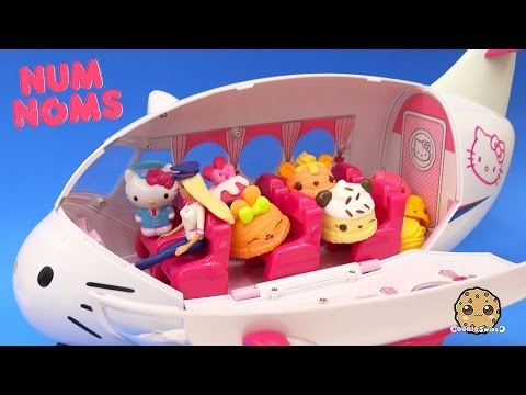 4 NumNoms Surprise Mystery Blind Bag Cups On Hello Kitty Airplane With Barbie Doll