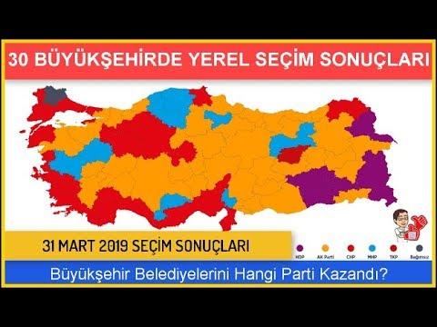 30 Büyükşehirde Yerel Seçim Sonuçları, Büyükşehir Belediyelerini Hangi Parti Kazandı? (31 Mart 2019)