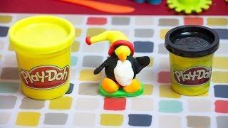 Play Doh Fun - Making a Snowboarding Penguin - Kinder Playtime