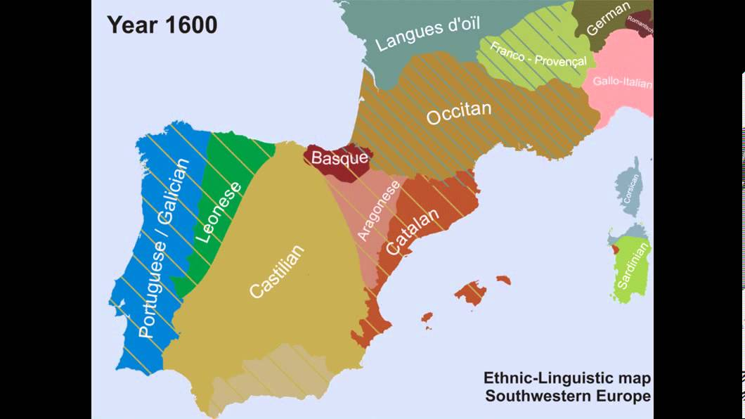 Linguistic Map Of Southwestern Europe From 1050 2012 AD
