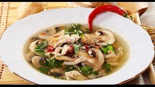 Ароматный суп с грибами - вешенками.