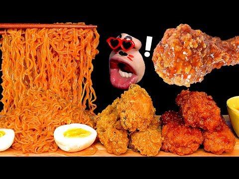 [asmr-mukbang]-spicy-noodles,-kfc's-crispy-seasoned-chicken-and-fried-cheese-chicken.